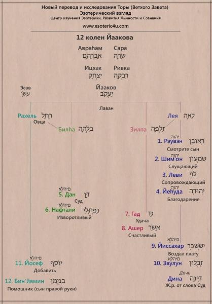 12 колен Израилевых, 12 сыновей Йаакова. Тора (Ветхий Завет), новый перевод и исследование. Эзотерический взгляд