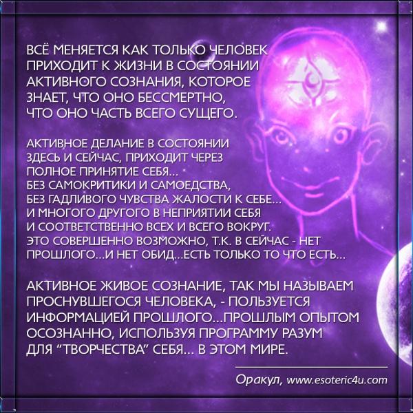 Сознание живет в состоянии здесь и сейчас, в принятии себя и всего вокруг...